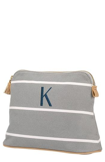 Cathy's Concepts Monogram Cosmetics Bag, Size - Grey J