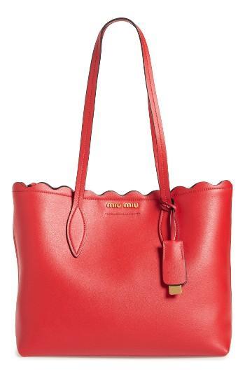 Miu Miu Small Wave Calfskin Leather Shopper -