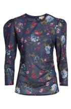 Women's Hinge Ruched Long Sleeve Top - Blue