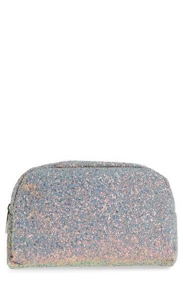 Skinny Dip Crescent Teal Glitter Makeup Bag