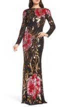 Women's Mac Duggal Drape Back Floral Sequin Gown