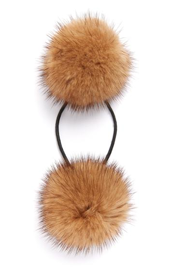 Alexandre De Paris Genuine Mink Pompom Ponytail Holder, Size - Brown