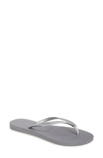 Women's Havaianas 'slim' Flip Flop /38 Br - Grey