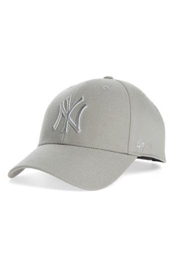 Women's '47 Clean Up Ny Yankees Metallic Mvp Baseball Cap - Grey