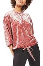 Women's Topshop Velvet Blouson Sweatshirt Us (fits Like 14) - Pink