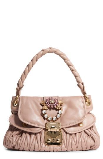 Miu Miu Matelasse Leather Shoulder Bag - Beige