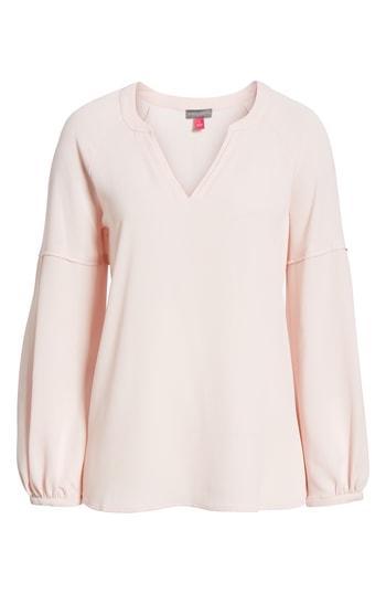 Petite Women's Vince Camuto Bubble Sleeve Crepe Blouse P - Pink