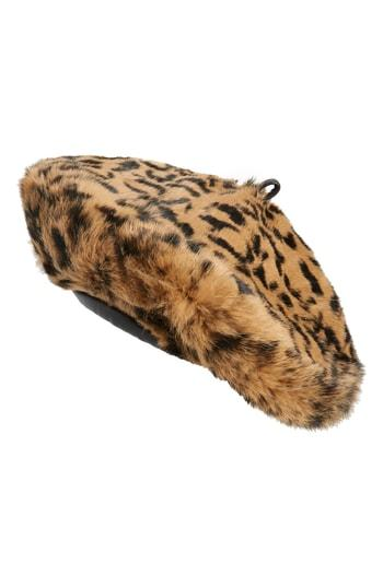 Women's Eric Javits Jag Leopard Print Genuine Rabbit Fur Beret - Brown