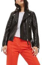 Women's Topshop Basil Belted Leather Biker Jacket Us (fits Like 0-2) - Black
