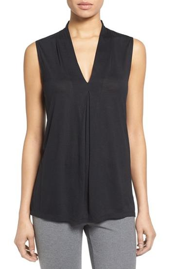 Petite Women's Halogen Pleat Front V-neck Top P - Black