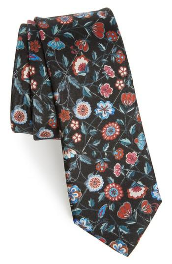Men's Paul Smith Floral Silk Tie, Size - Black