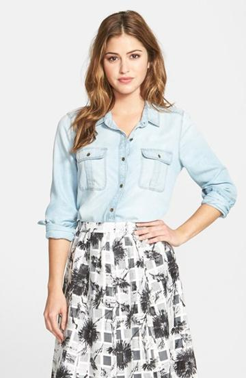 Women's Halogen Tencel Denim Shirt, Size