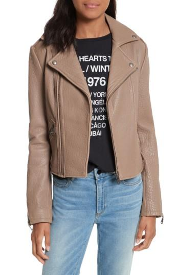Women's Rebecca Minkoff Wolf Leather Moto Jacket, Size - Grey