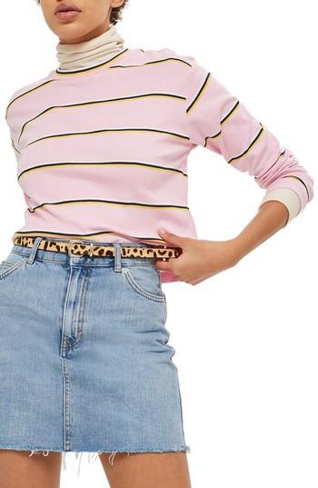 Women's Topshop Stripe Tee Us (fits Like 0) - Pink