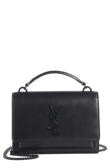 Women's Saint Laurent Top Handle Sunset Wallet On A Chain - Black