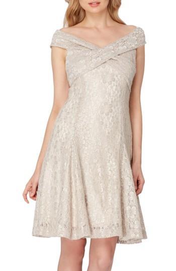 Petite Women's Tahari Lace Fit & Flare Dress P - Beige