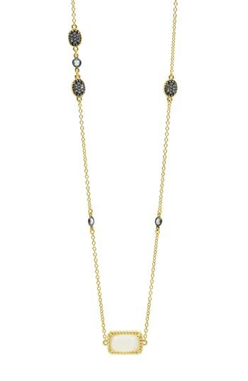 Women's Freida Rothman Gilded Cable Stone & Pave Long Station Necklace