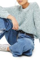 Women's Topshop Swirl Tuck Sweater Us (fits Like 0) - Blue