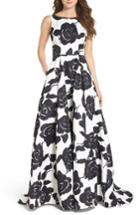 Women's Ieena For Mac Duggal Embellished Floral Jacquard Gown