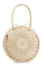 Topshop Bella Straw Circle Tote Handbag - Beige