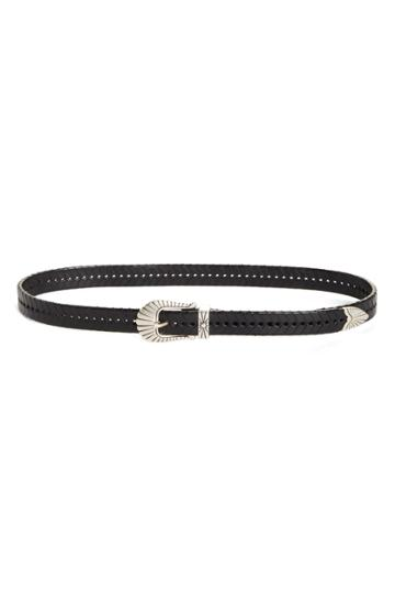 Women's Isabel Marant Braided Leather Belt - Black