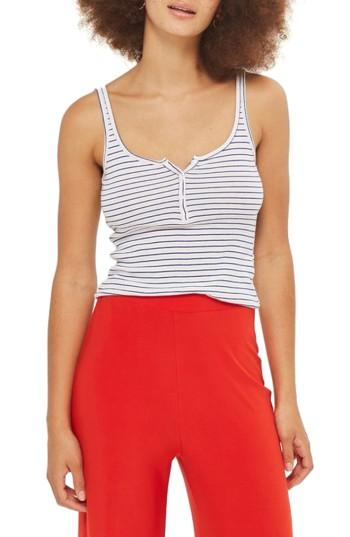Women's Topshop Stripe Henley Tank Us (fits Like 0) - Blue