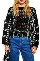 Women's Topshop Fringe Crochet Sweater Us (fits Like 0) - Black
