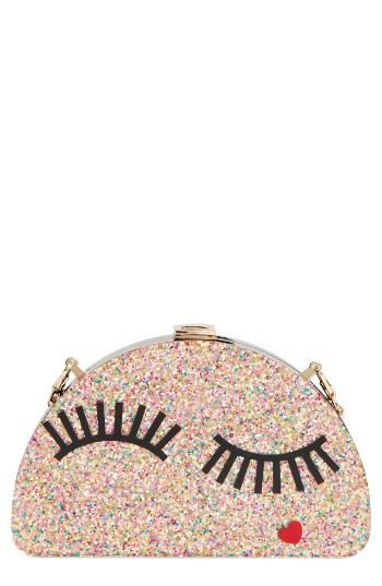 Milly Eyelash Glitter Half Moon Clutch -
