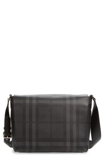 Men's Burberry London Check Messenger Bag - Grey