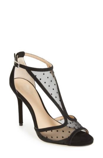 Women's Jewel Badgley Mischka Horizon T-strap Mesh Sandal M - Black
