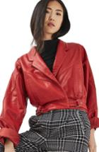 Women's Topshop Maggie Cropped Leather Jacket