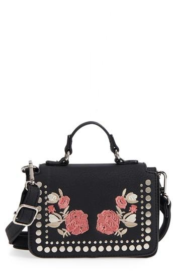 Violet Ray New York Selma Floral Embroidered Crossbody Bag - Black