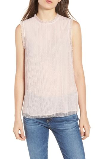 Women's Chelsea28 Dotted Mesh Top, Size - Pink