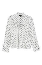 Women's Topshop Polka Dot Blouse Us (fits Like 0) - White