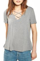 Women's Topshop Cross Neck Tee Us (fits Like 0) - Grey