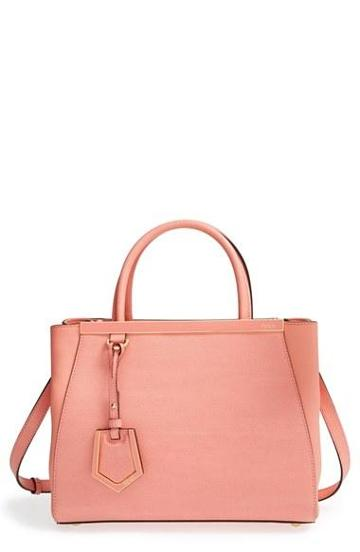 Women's Fendi 'petit 2jours Elite' Leather Shopper Peach