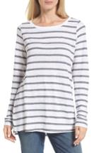 Women's Eileen Fisher Stripe Linen Blend Ballet Neck Top - Grey