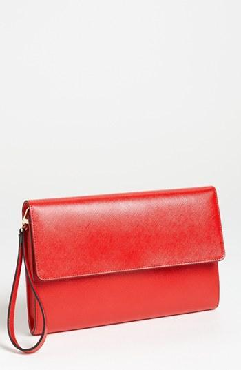 Halogen Saffiano Leather Clutch Red Tomato