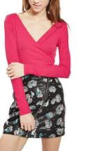 Women's Topshop Ribbed Surplice Bodysuit Us (fits Like 0) - Pink