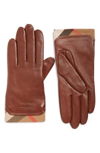 Women's Burberry 'jenny' Leather Tech Gloves