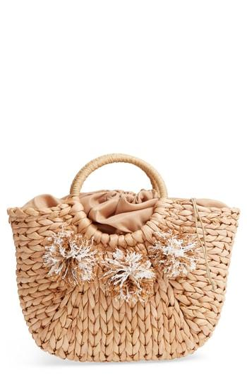 Street Level Woven Straw Tote - Beige