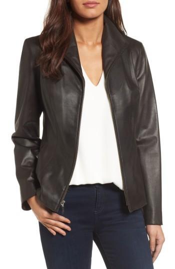 Petite Women's Cole Haan Lambskin Leather Scuba Jacket P - Brown