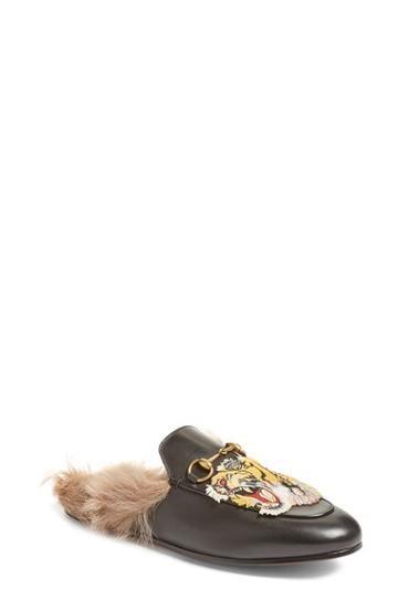 Women's Gucci Princetown Genuine Fur Loafer Mule Us / 40eu - Black