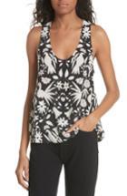 Women's Joie Devota Floral Silk Tank - Black