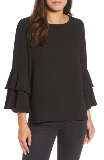 Women's Gibson Ruffle Bell Sleeve High/low Tunic, Size - Black
