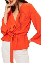 Women's Topshop Tiffany Asymmetrical Blouse Us (fits Like 0) - Red