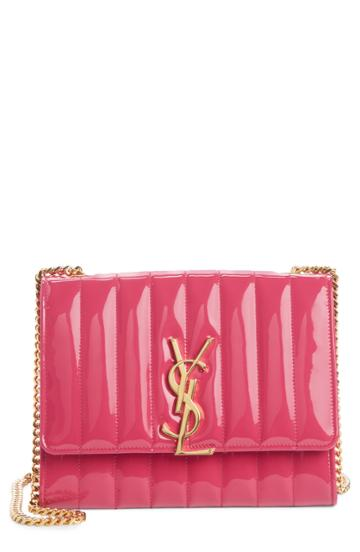 Women's Saint Laurent Vicky Patent Leather Wallet On A Chain - Pink