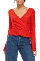 Women's Topshop Peplum Wrap Sweater Us (fits Like 0) - Red