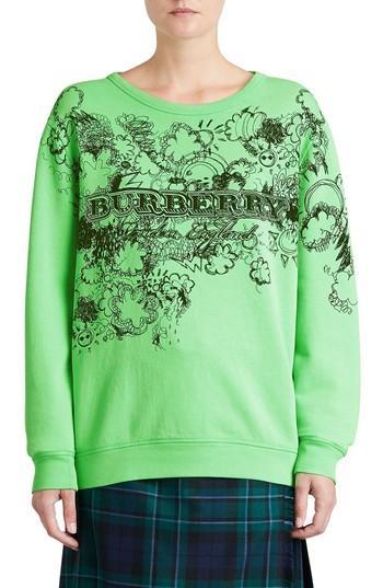 Women's Burberry Madon Print Sweatshirt - Green