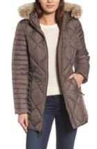 Women's Andrew Marc Hooded Coat With Genuine Coyote Fur Trim